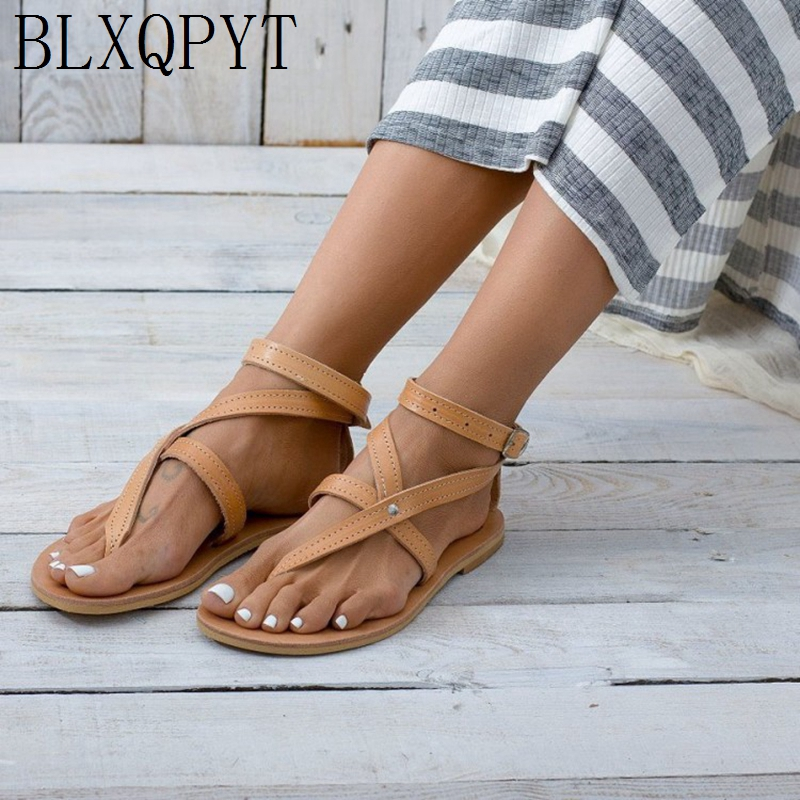 BLXQPYT 2019 Shoes Women Flat Sandals Beach Casual Flip Flop Plus Size 34-52 Sandals Summer Shoes Woman Chaussures Femme 1930
