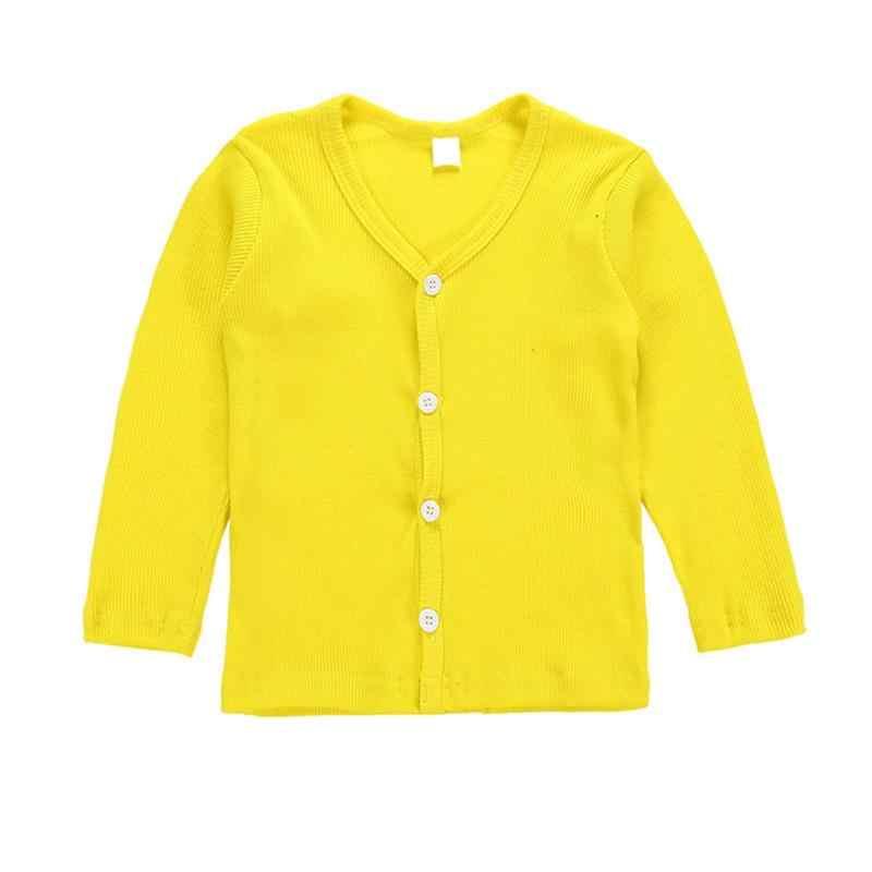 Одежда для малышей; футболки для маленьких мальчиков и девочек; осенняя куртка; Весенний кардиган с длинными рукавами и v-образным вырезом для девочек; пуховое пальто на пуговицах