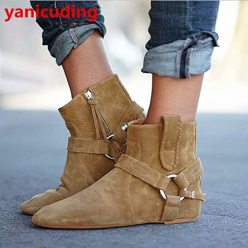 yanicuding Round Toe Women Flock Ankle Booties Metal Short Boots Zip Design Luxury Brand Fashion Runway Star Autumn Shoes Flats miquinha round toe women boots mixed color short booties luxury brand women cool runway fashion star high heel boots buckle shoe