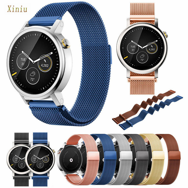 20mm/22mm Milanese Watch Strap Magnetic Loop Stainless Steel Watchbands For Men's 42mm/46mm MOTO 360 2nd Watch Accessories