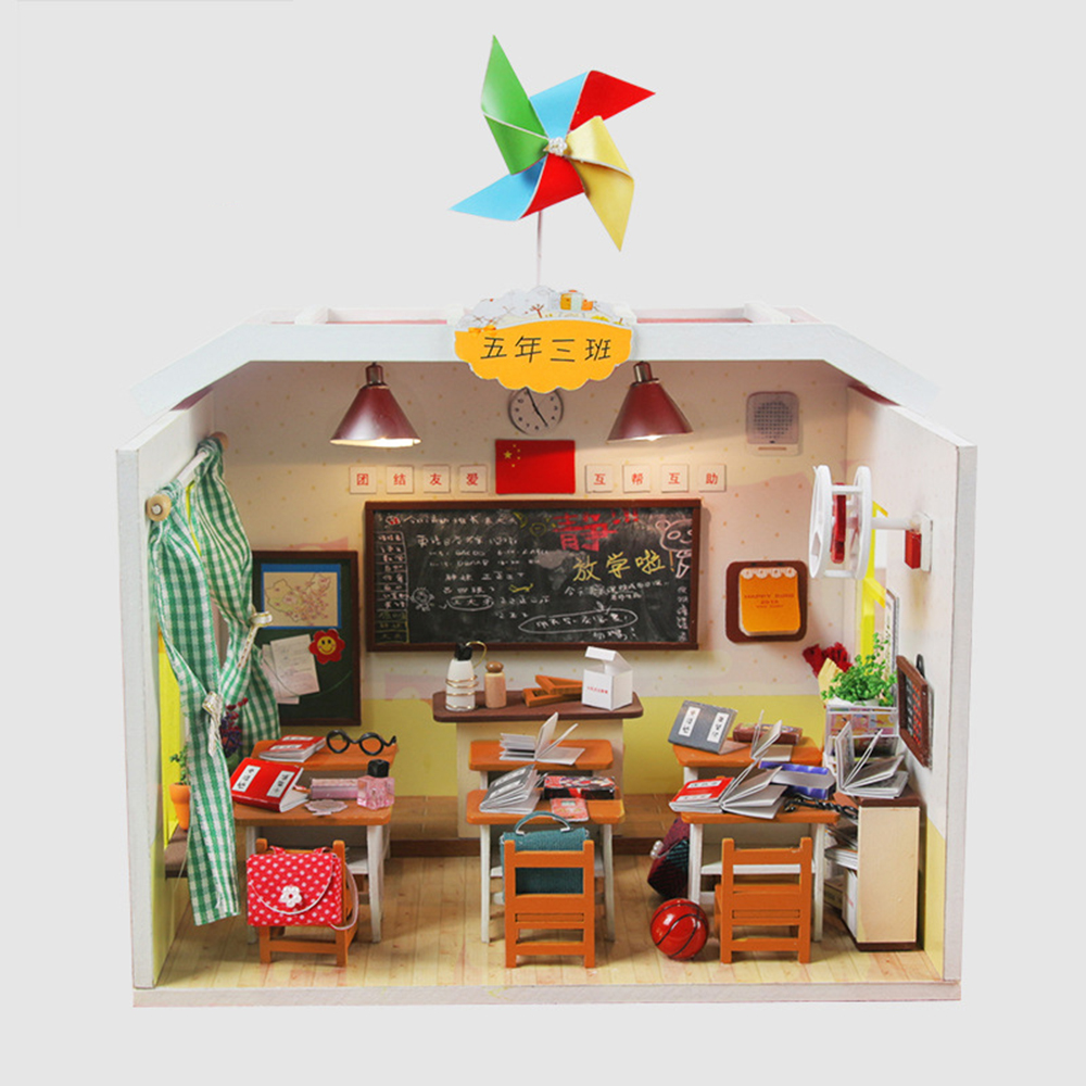 Diy Dollhouse Wooden House Toys For Children Doll House Home Decoration Craft Miniature School Student Classroom Doll Houses Dolls & Stuffed Toys