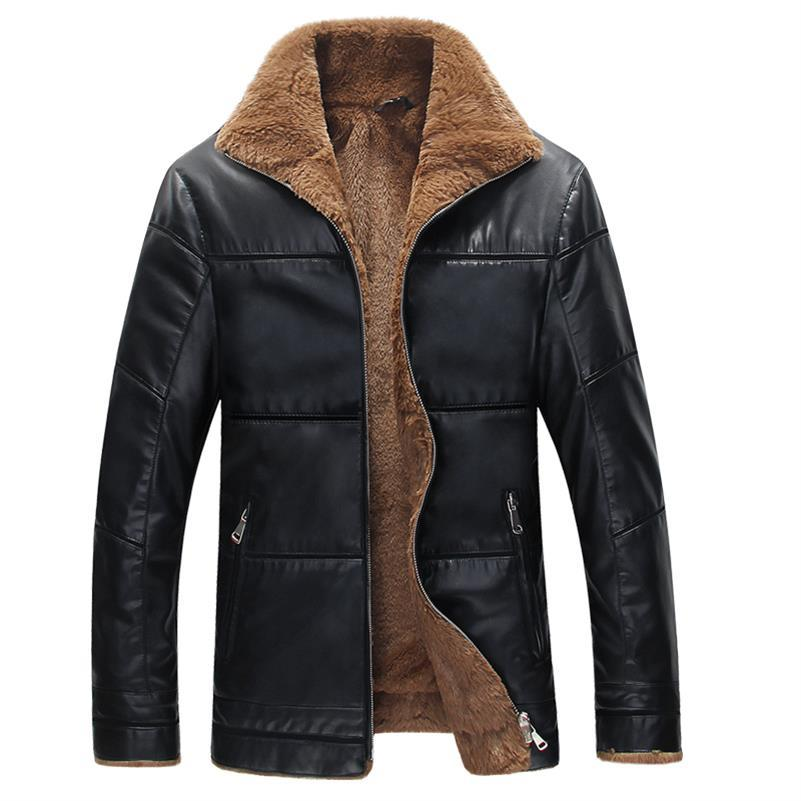 Plus Size 9xl 8xl 7xl 6xl 5xl Winter Thick Leather Garment Casual Flocking Leather Jacket Men's Clothing Leather Jacket Men