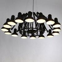 Новинка, черная люстра паук, освещение в гостиничном холле, Промышленная большая подвесная железная обеденная лампа, коммерческое освещени