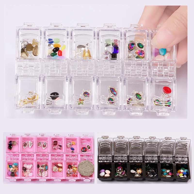 12 Grid Nail Art Clear Empty Rhinestone Acrylic Storage Box Crystal Bead Gem Jewelry Earring Ring Accessory Pills Container Case 25 50 storage bottle plastic empty box case pot 4 nail art rhinestone bead gems