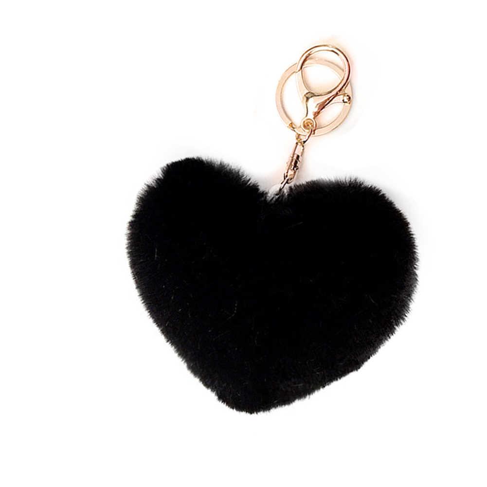 Прекрасный пушистый мех помпон брелок Мягкая форма сердца помпон брелок Искусственный Кролик шары помпоны автомобиль Kay кольцо подарок