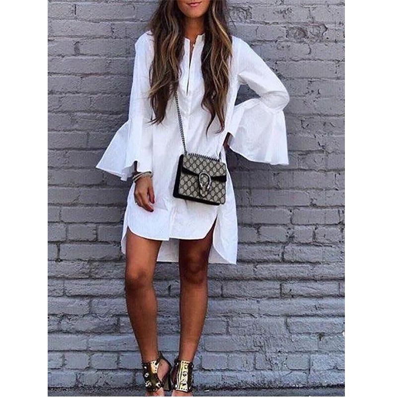 2018 Fashion Casual Elegant Summer Dress Long Flare Sleeve O-Neck Single Breasted Solid White Loose Straight Dress semi formal summer dresses