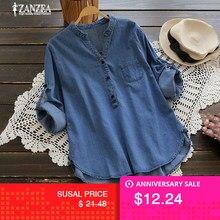 16bb337b055091 ZANZEA moda damska bluzka 2018 jesień Denim niebieskie koszule kobiet V Neck  z długim rękawem guzik