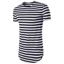 2018 striped long t shirt Men Hip Hop Black t-shirt Longline Extra Long tee shirt for male Tops Over Size Streetwear tshirt tops