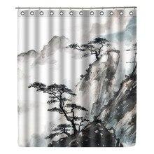 WONZOM Landscape Painting Polyester Fabric Shower Curtain Bathroom Decor Leaf Stone Waterproof Cortina De Bano With 12 Hooks Zen