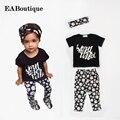 EABoutique Летний стиль письмо цветочные дейзи отпечатано Малышей детские девушка одежда набор экипировка + повязка 3 шт. набор для 1-5 Y