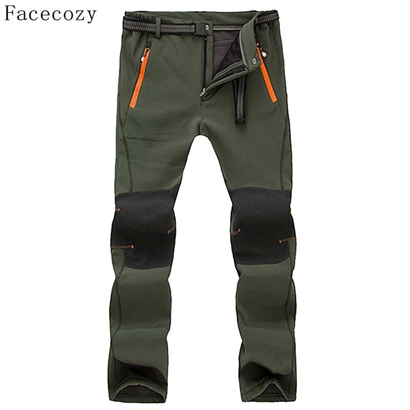 Prix pour Facecozy Hommes En Plein Air Automne Polaire Camping Softshell Pantalon Mâle Chaleur Patchwork Coupe-Vent Randonnée Pantalon