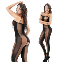 Women Sexy Net Large Elastic bodystocking Open Crotch transparent Body Suit Slim Nightwear black Teddies(China)