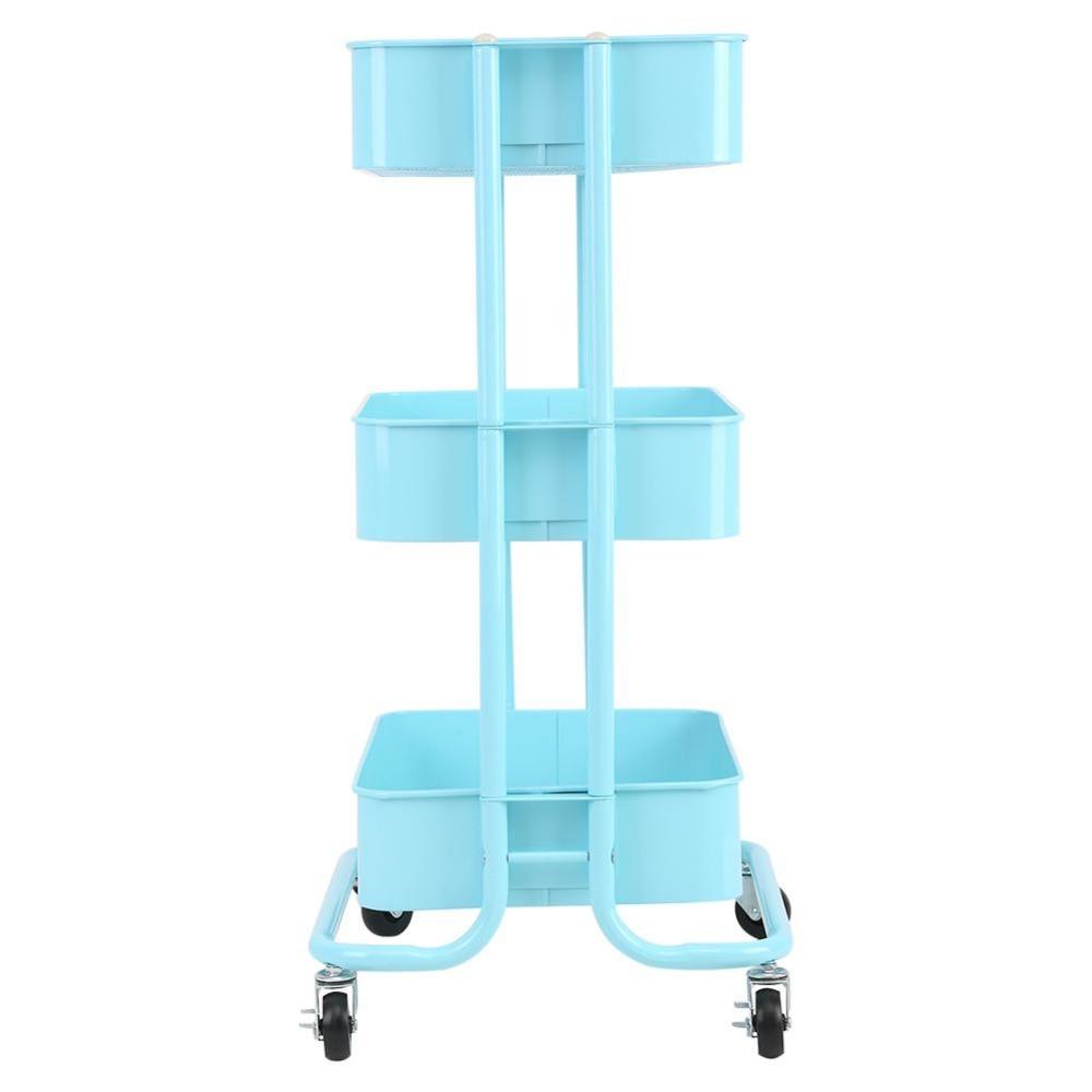 3 Tiers Storage Rack Trolley Cart Slim Rolling Trolley With Wheels ...