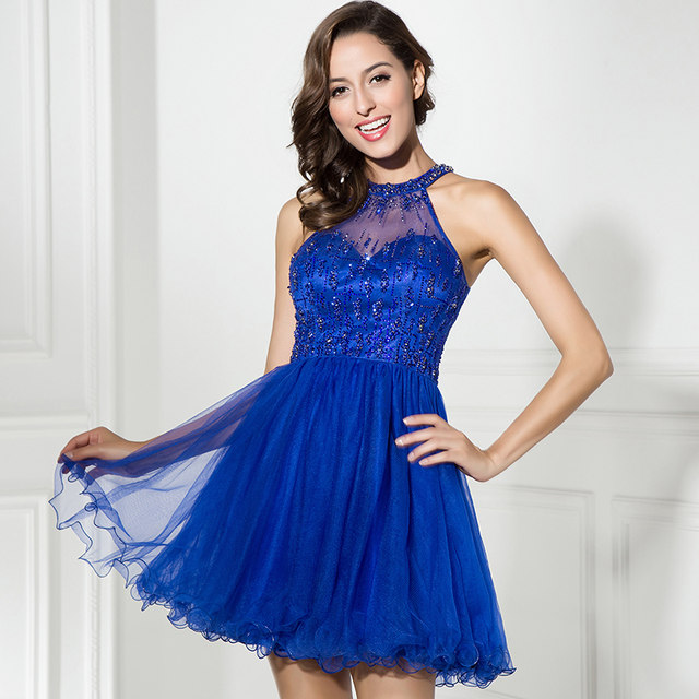 Online Shop In Stock Royal Blue Short Prom Dresses High Collar ... 7fc50d522c79