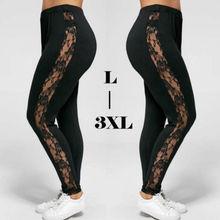Sexy Lace Hole Womens Brief Pant Capris Plus Size L-3XL Sexy Women Lace Pants Insert Sheer Leggings Viscose Elastane