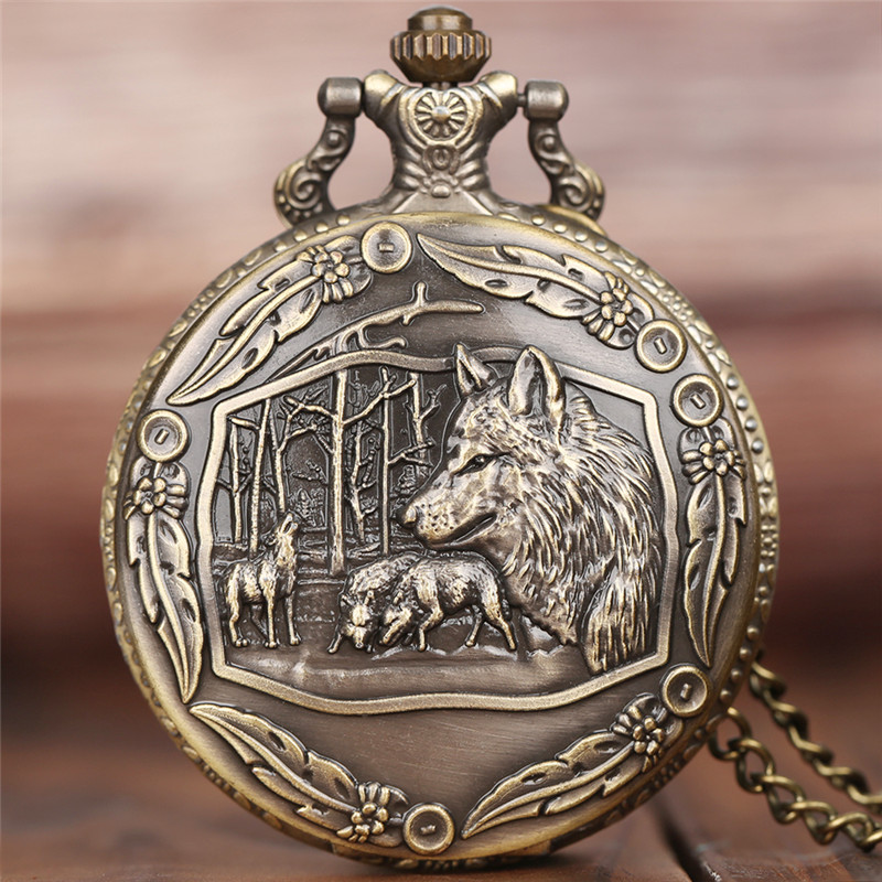 Saatler'ten Cep Saatleri'de Yaratıcı vahşi kurt Retro bronz cep saati erkekler kadınlar moda kolye harika hayvan kuvars saat kolye zinciri ile en iyi hediye title=