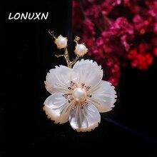 5 см * 3.4 см премиум природный shell пресной воды перл цветы plum новый урожай брошь аксессуары темперамент женщины