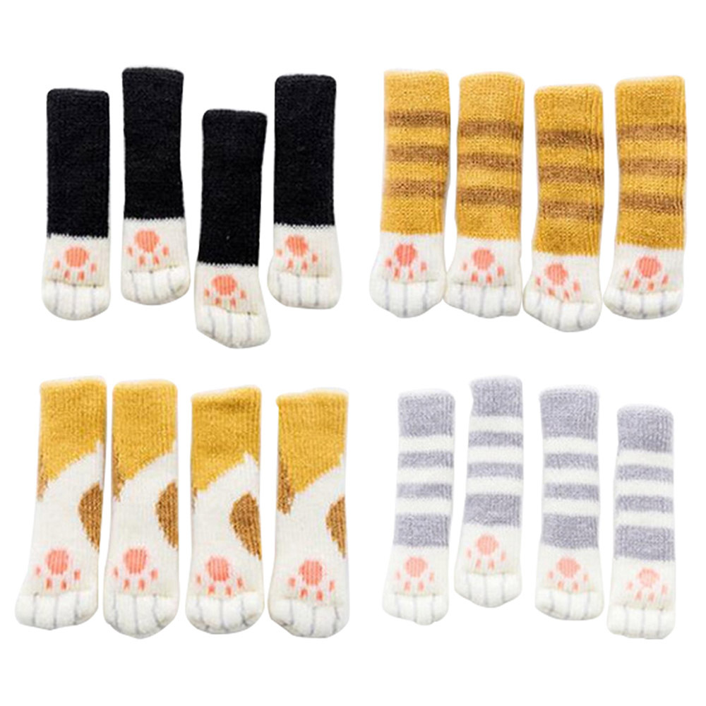 Lovely 4Pcs Cat Feet Chair Leg Table Foot Covers Floor Protectors Floral Kint Doorknob Chair Cover Sock