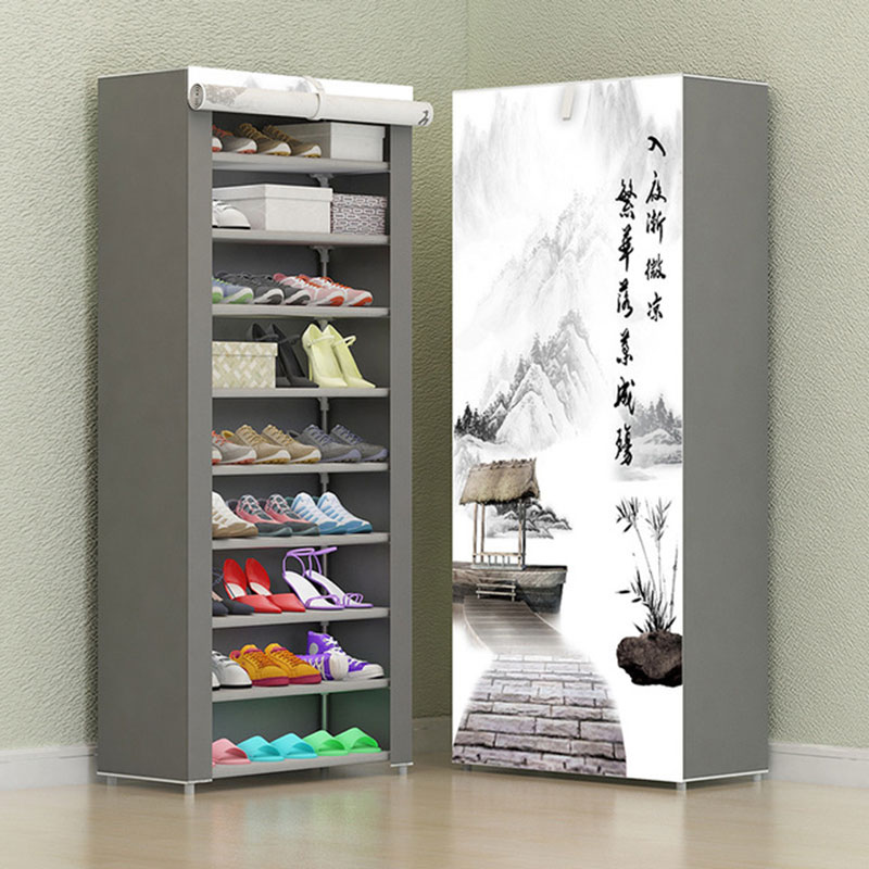 7 Layer 8 Layer 10 Layer Non-woven Cloth Shoe Rack Folding Fabric Storage Shoes Rack DIY Dust-proof Shoes Cabinet Furniture