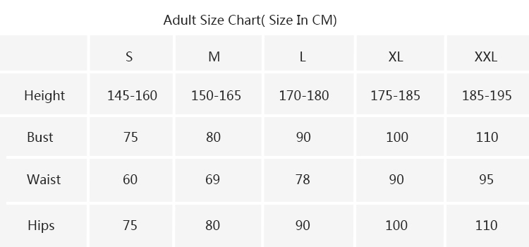 adult size chart