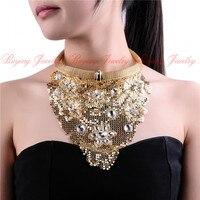 Fashion Gold Metal Slice Statement Necklaces Pendants 2015 Indian Chic Style Jewelry Women Neck Bib Collar