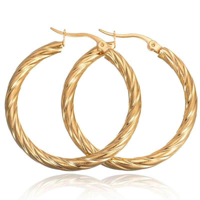 New Classic Style 316L Stainless Steel Hoops Earrings Basketball Wives Silver Loop Earrings Bamboo Hip Hop Earrings