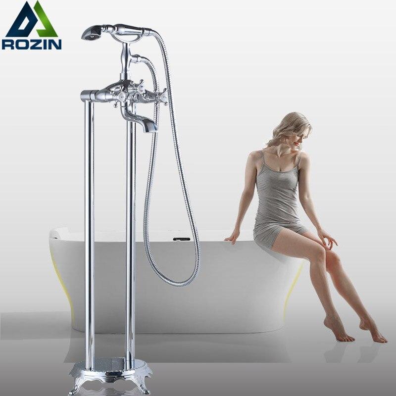 Chrome стоящие Для ванной кран двойной ручкой латунь Напольные Clawfoot Ванная комната Для ванной ванна смесители поворотным изливом ручной душ