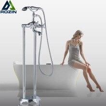 Chrome Free Standing Bath Tub Faucet Dual Handle Brass Floor Mounted Clawfoot Bathroom Bathtub Mixers Swivel Spout Hand Shower