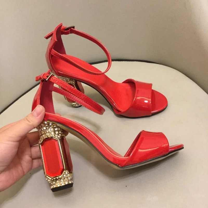 VIISENANTIN nóng đỏ gợi cảm màu đen sáng bóng da nữ mùa hè Giày Sandal pha lê đá quý gót dày dây đeo mắt cá chân sandalias