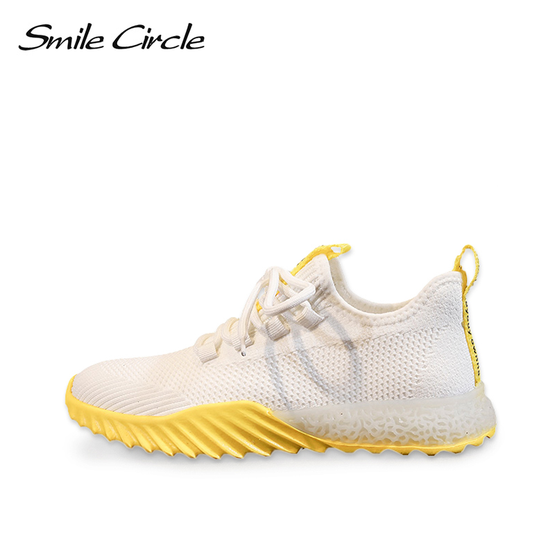 Smile Circle knitting Women Sneakers Flat Shoes Platform Ladies Casual Running shoes Breathable Lightweight Sneakers 2019