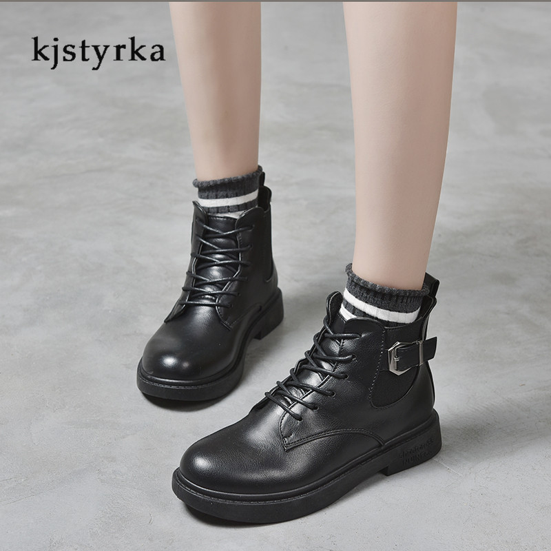 Kjstyrka round toe 2019 cotton fashion casual belt buckle patent leather martin boots female anti-slip ankle boots for women 3