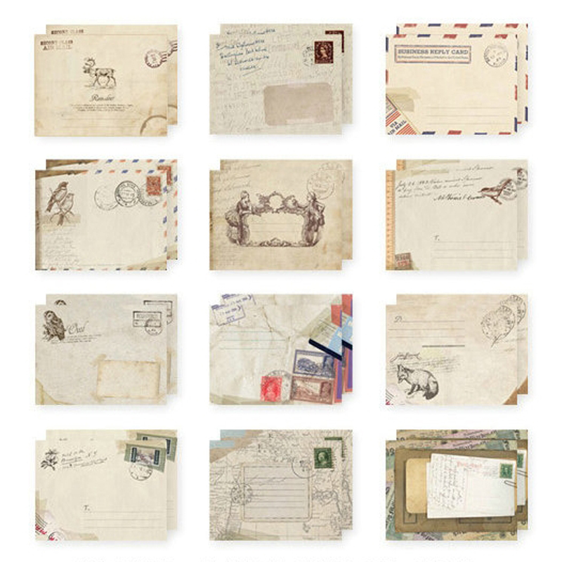 12Pcs/pack Vintage Mini Paper Europe Scene Envelope Scrapbooking Envelopes Small Stationery Gift E2024