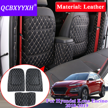 QCBXYYXH Car Styling 3pcs/lot Leather For Hyundai Kona Encino 2018 Car Seat Back Anti-Kick Pad Cover Internal Decoration Covers