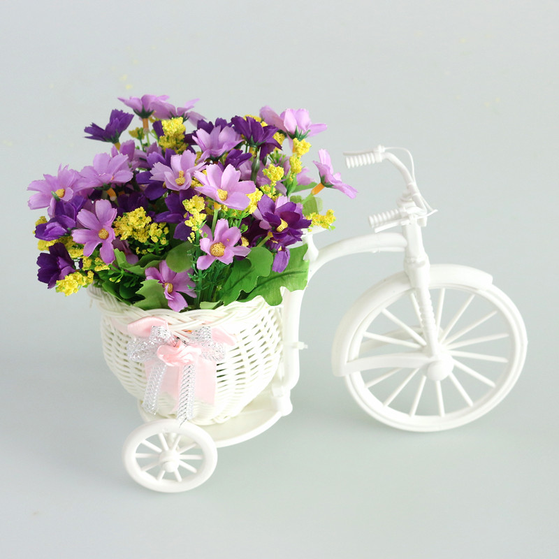 Flone Artificial Flower Set Rattan Vase Simulated Flower Plastic Bicycle Flower Set Bouquets For Wedding Indoor Household Decor