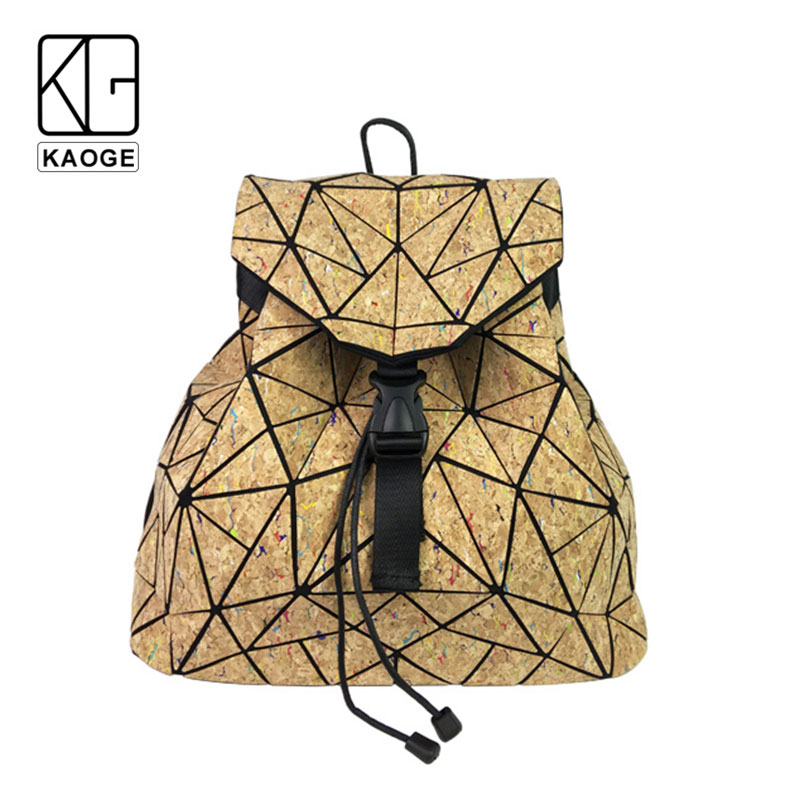 KAOGE Vegan Backpack Natural Cork Chain Bag Women Original Designer Flap Hand bag Shoulder Travel Girls
