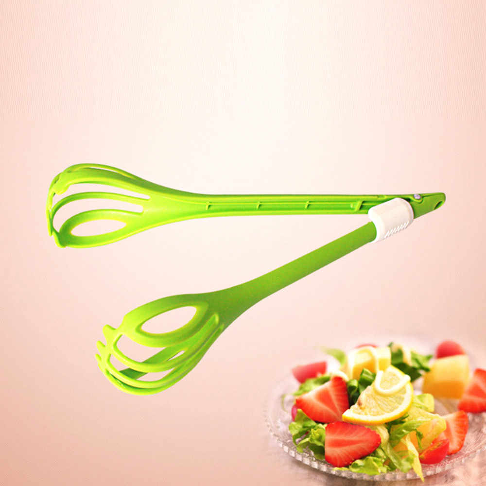 1 pcs Creative Food Grade Plastic Handle Food Tong Clamp Salad Fruit Clip Egg Mixing Cake Tongs Kitchen Gadget For Party Cooking