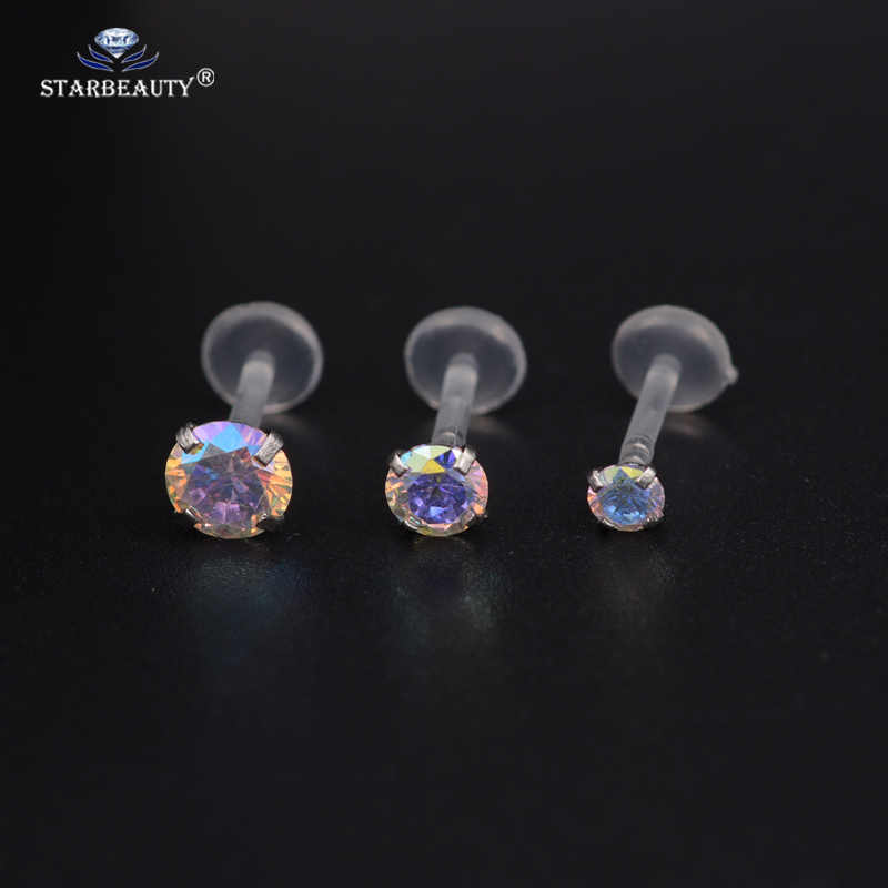 1Pc  AB & White Gem Flexible Labret Lip Ring Ear Helix Tragus Cartilage Studs Piercing Mixed Color Body Piercing Jewelry