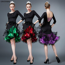 New  Women Latin Dance Dress Adult Costume Ballroom Rumba Cha-cha Samba Cowboy Dance Costumes Tango Costume  Woman Latin Dress