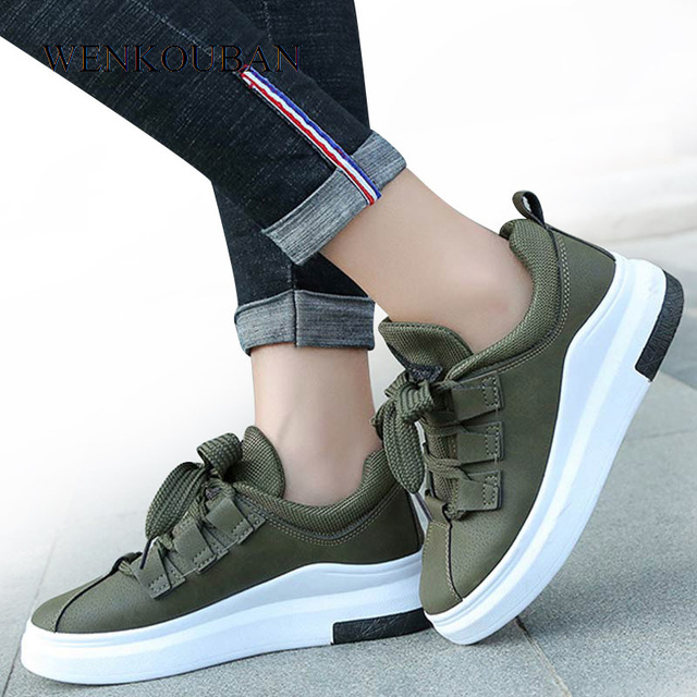 2019 Platform Sneakers Women Casual Shoes Wedage Trainers Ladies Shoes Lace  up Tenis Feminino Chunky Sneakers 0b539bbced6f
