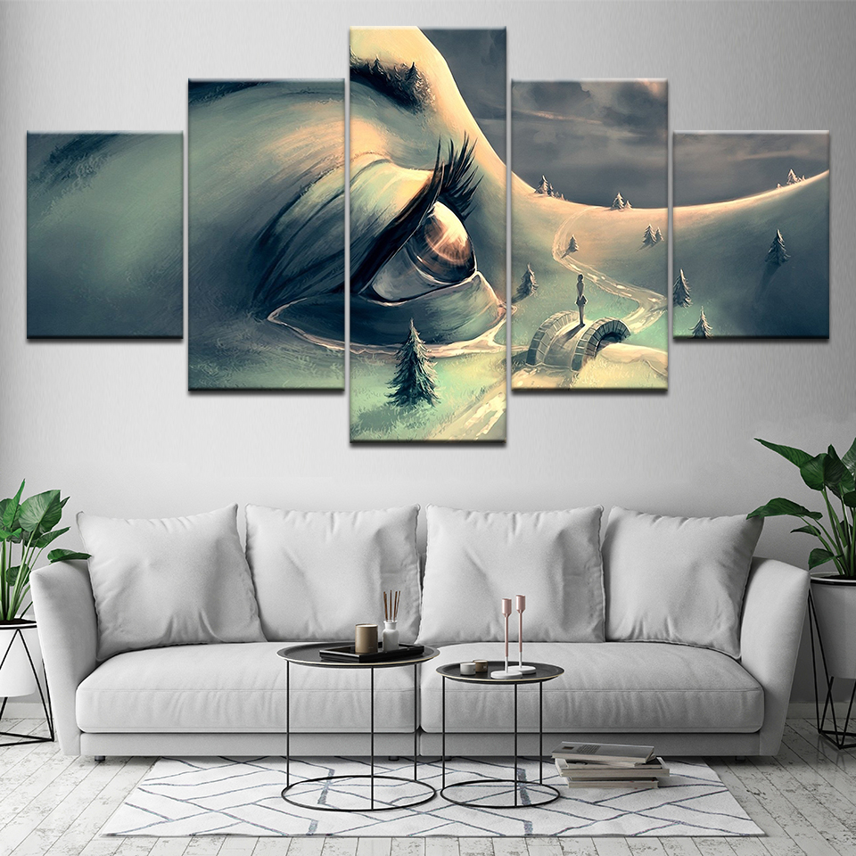 Canvas Painting Wall Art Pictures 5 Pieces The beauty eyes in love world Modular Wallpapers Print for living room Home Decor in Painting Calligraphy from Home Garden