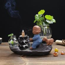Adorable Little Monk Backflow Incense Burner Ceramic Incense Holder Censer Smoke Flow Craft Gifts Waterfall Censer Home Decor backflow incense burner holder backflow censer ceramic little monk stick craft taoism incense cones chinese culture 60xl013
