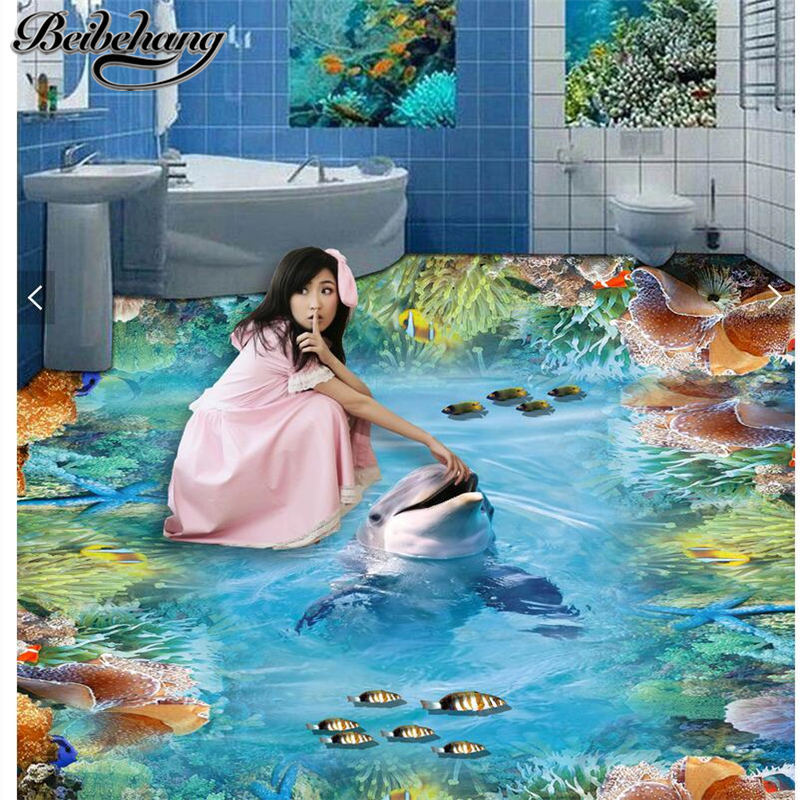 beibehang Living room shopping floor floor stickers custom creative self - adhesive dolphin coral reef 3D painting wallpaper