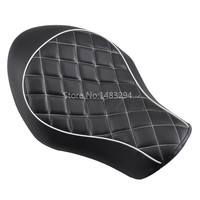 Rhombus Black Leather White Border Seat Solo Saddles Front Rider Cushion Fit For Harley Sportster XL 883 1200 2005 2013