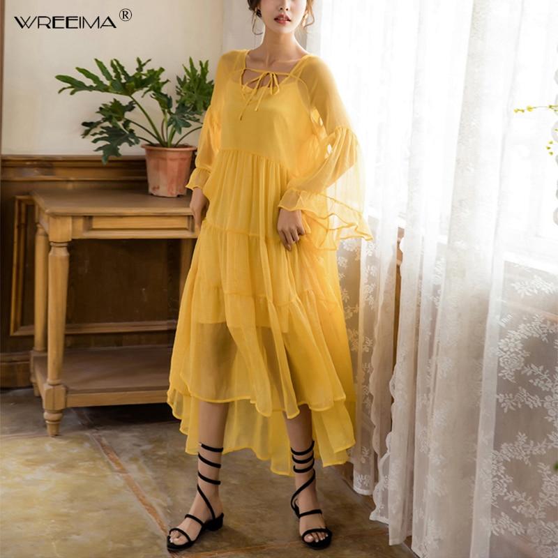 2019 printemps nouvelle femme en mousseline de soie robe jaune rouge bohème été plage plissée maxi robe piste en cascade à volants vestidos moulante