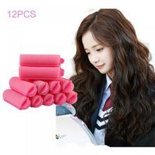 12 шт., розовая пряжка, мягкая губка, пена, бигуди для волос, ролик, легкая завивка, Стайлинг, парикмахерский салон, для укладки волос, твист, набор инструментов