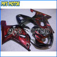 Motorcycle Injection ABS Fairing Kit For Suzuki GSXR 1000 2000 2001 2002 Red Flame Black A1