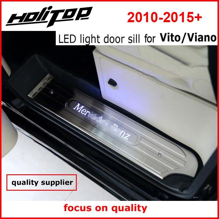 Date! porte led sill plat d'usure pour VITO VIANO 3 portes ou 4 portes 2011-2015 année, meilleur 304 en acier inoxydable, qualité fournisseur
