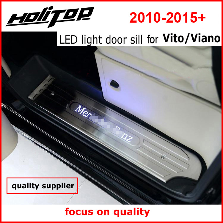 Newest! LED light door sill scuff plate for VITO VIANO 3doors or 4doors 2011-2015 year,best 304 stainless steel,quality supplier