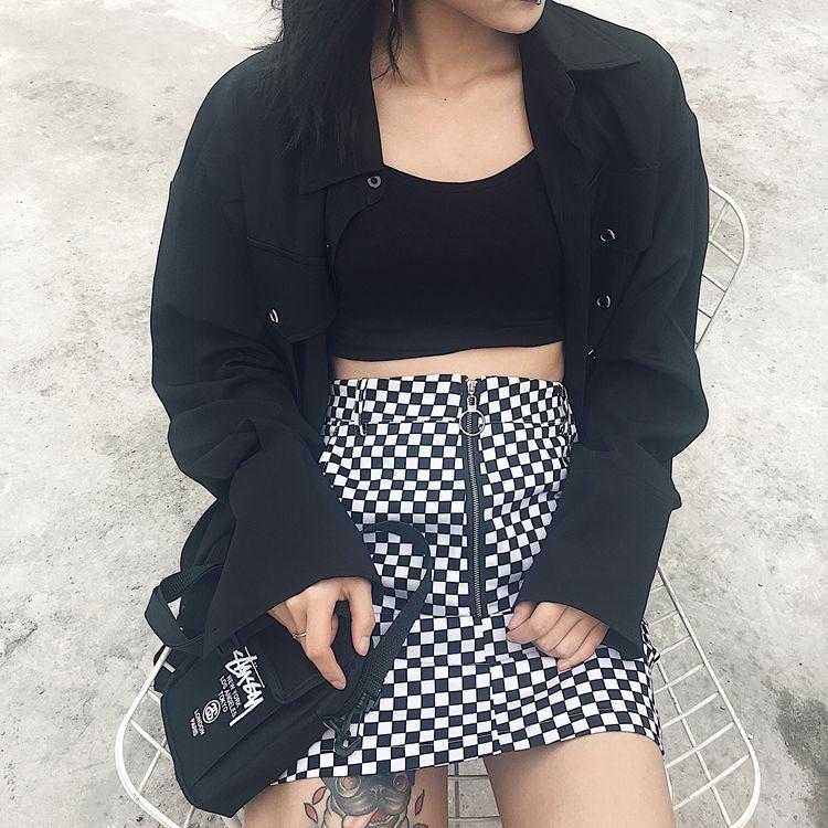 HTB1EEVQRpXXXXaOXVXXq6xXFXXX1 - FREE SHIPPING High Waist Mini Skirts Black White Checkerboard Plaid JKP240