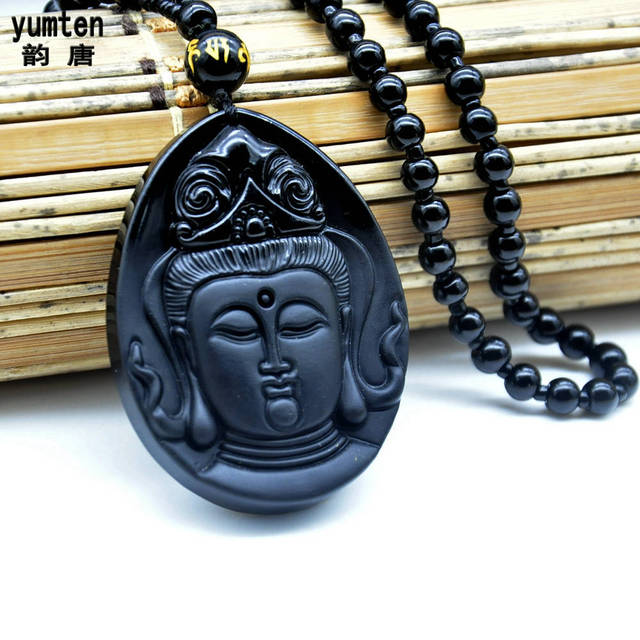 Yumten Obsidian Buddha Collares Mujer Kolye Overwatch Men Jewelry Colar Masculino Pingente Erkek Kolye Bouddha Transport Happy